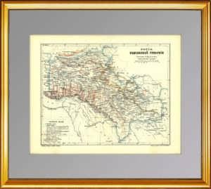 Подольская губерния. Старинная карта с элементами геологии. 1896г. Кудрявцев