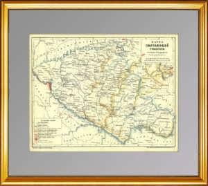 Полтавская губерния. Старинная карта с элементами геологии. 1896г. Кудрявцев