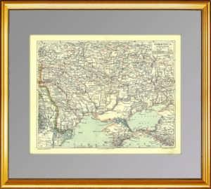 Крым, Малороссия, Южная Россия. Старинная карта. 1896г. «Просвещение»