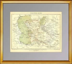 Закаспийская область: Казахстан, Узбекистан, Туркмения. 1897г. Старинная карта