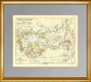 Историческая карта роста России со времён Петера I. 1897г. ВИП подарок патриоту