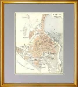 Одесса. Старинный литографированный план. 1902г.