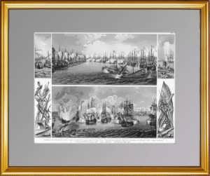 Чесменское сражение в 1770г. Антикварная гравюра - ВИП подарок военному моряку