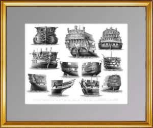 История флота. 1870г. Корабли с 1747 по 1868 гг. Старинная гравюра - подарок моряку