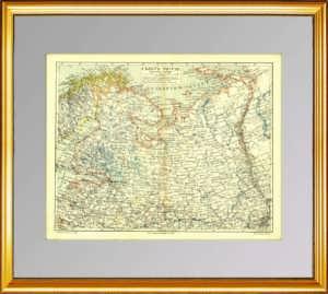 Северо-запад России. 1899г. Старинная карта - антикварный подарок мужчине