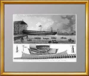 История флота. 1870г.  Броненосец. Старинная гравюра - подарок моряку
