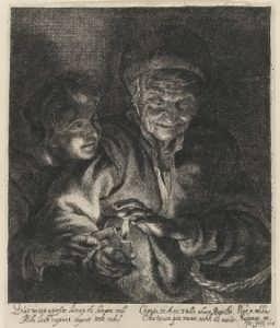 Рубенс. Ночная история. Шталь. 1646г. Антикварная музейная гравюра