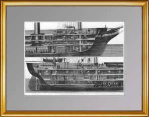 История флота. 1870г. Корвет: продольный разрез. Старинная гравюра, подарок моряку