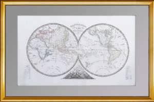 Полушария. Антикварная карта Мира. 1839г. Представительский антикварный подарок