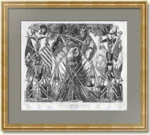 """Антикварная гравюра """"Военная атрибутика"""" 1851г. Подарок в кабинет руководителю"""