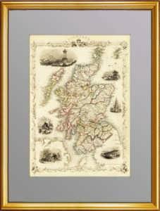 Антикварная карта Шотландии. 1851г.