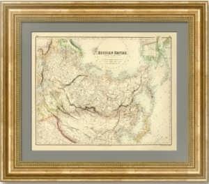 Карта России с Аляской. 1855г. Киперт. Антикварный VIP подарок руководителю