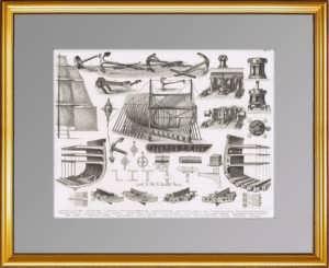 История флота. 1870г. Военный корабль: якоря, паруса, конструкция корпуса