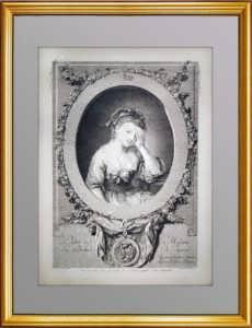 Портрет девушки 1773г. Грёз/Ингуф. Старинная гравюра, музейный экземпляр