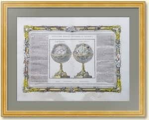 Земной и небесный глобусы. 1786г. Старинная гравюра - ВИП подарок руководителю