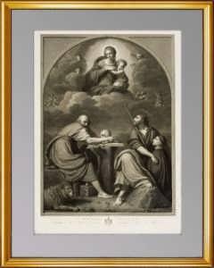 Мадонна с благоговением. 1819г. Старинная гравюра - антикварвый ВИП подарок