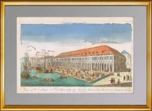 Вид Биржи и Гостиного двора вверх по Малой Неве. (2) 1755г. C рис. Махаева. Гравюра XVIII века