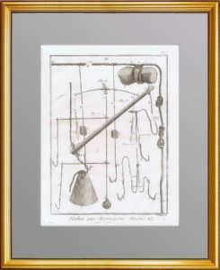 Рыбная ловля. 1776 г. Лист N5.  Крючки и приспособления. Антикварная гравюра