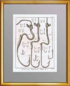 Рыбная ловля. 1776 г. Лист N1.  Крючки и приспособления. Антикварная гравюра