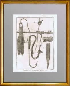 Рыбная ловля. 1776 г. Лист N2. Крючки и приспособления. Антикварная гравюра
