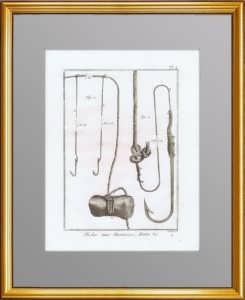 Рыбная ловля. 1776 г. Лист N4. Крючки и приспособления. Антикварная гравюра