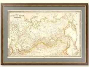 Старинная таможенная карта России. 1885г. 57x85! Антикварный подарок таможеннику