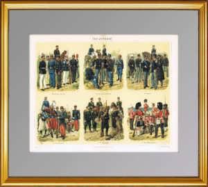 1897г. Пехота России, Италии, Германии… Антикварная литография. ВИП подарок