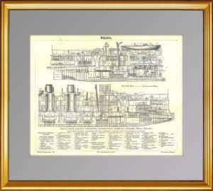 История флота. 1898г. Крейсер: продольный разрез. Антикварная гравюра