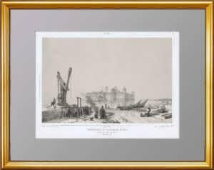 Ладожское озеро. Шлиссельбург. 1847г. Дюран. Антикварная литография. VIP подарок