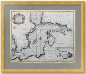 Балтика, Финский залив, Петербург, Усть-Луга. 1744г. Антикварная музейная морская карта