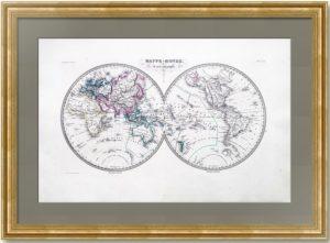 Антикварная карта Мира. Полушария. 1837г. Русская Аляска.