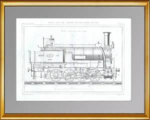 Восьмиколёсный локомотив. Общий вид. 1861 г. Антикварная гравюра