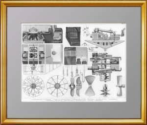 История флота. 1870г. Паровые двигатели, турбины, винты. Старинная гравюра