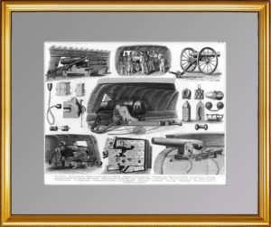 История флота. 1870г. Корабельная артиллерия. Старинная гравюра