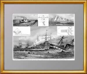 История флота. 1870г. Инновации движителей. Битва при Лиссе. Старинная гравюра