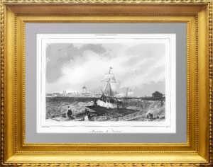 Смольный монастырь. Петербург. 1838 г. Старинная оригинальная гравюра