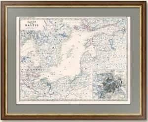 Балтийское море с планом Петербурга. 1861г. Старинная карта, кабинетный ВИП подарок