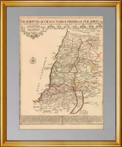 Израиль. Двенадцать колен. Антикварная карта. 1720 г. Музейный экземпляр