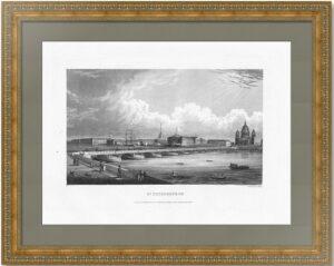 Петербург. Вид на Исаакиевский мост и новый собор. 1834г. Гравюра