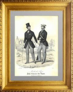 Мужская мода. 1845г. Август. Ручная акварельная раскраска. Старинная гравюра