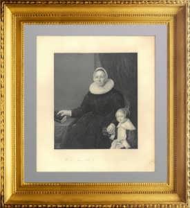 Мать и дитя. 1848г. Гельст/Пейн. Старинная гравюра