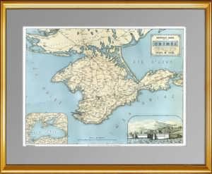 Крым. Старинная карта. 1855г. Антикварный подарок чиновнику, патриоту России