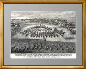 Гангутская баталия 1714 года. Антикварная гравюра. 1856г.