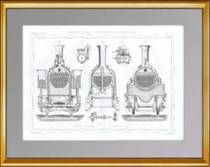 Восьмиколёсный локомотив. Поперечный разрез. 1861 г. Антикварная гравюра