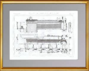 Восьмиколёсный локомотив. Продольный разрез. 1861 г. Антикварная гравюра