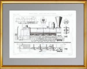 Локомотив Энгерта. Общий вид. 1861 г. Антикварная гравюра
