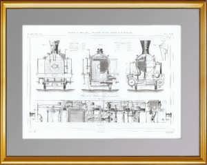 Локомотив Энгерта. Разрезы. 1861 г. Антикварная гравюра