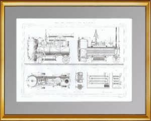 Паровой локомобиль Кайля. 1861 г. Антикварная гравюра. Подарок железнодорожнику