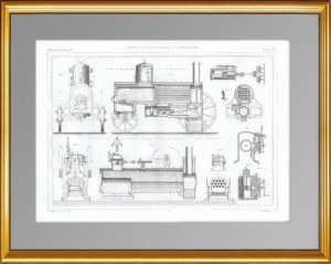 Паровой двигатель и локомобиль. 1861 г. Антикварная гравюра.