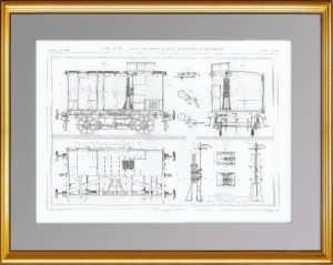 Железнодорожные вагоны с тормозами. 1861 г. Антикварная гравюра.